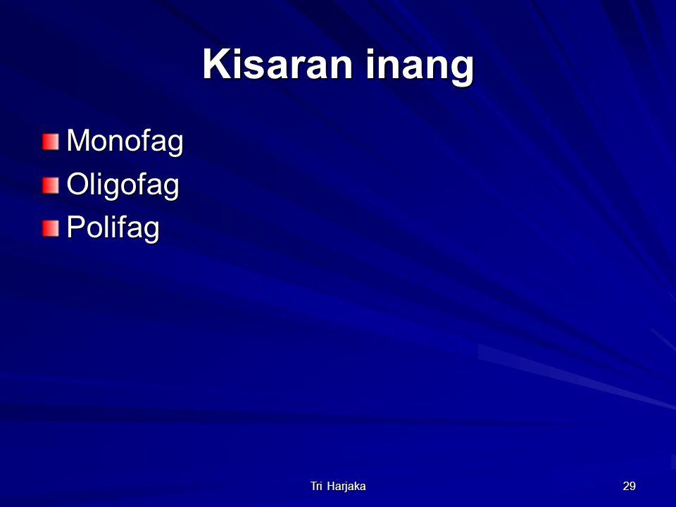 Kisaran inang Monofag Oligofag Polifag Tri Harjaka