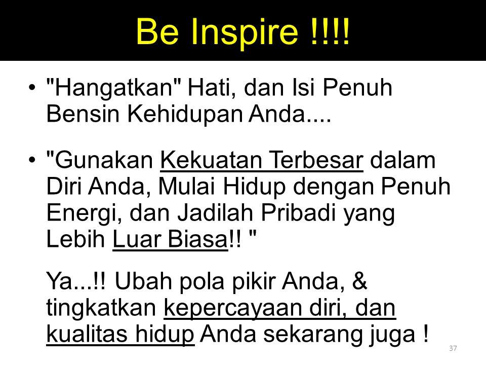 Be Inspire !!!! Hangatkan Hati, dan Isi Penuh Bensin Kehidupan Anda....