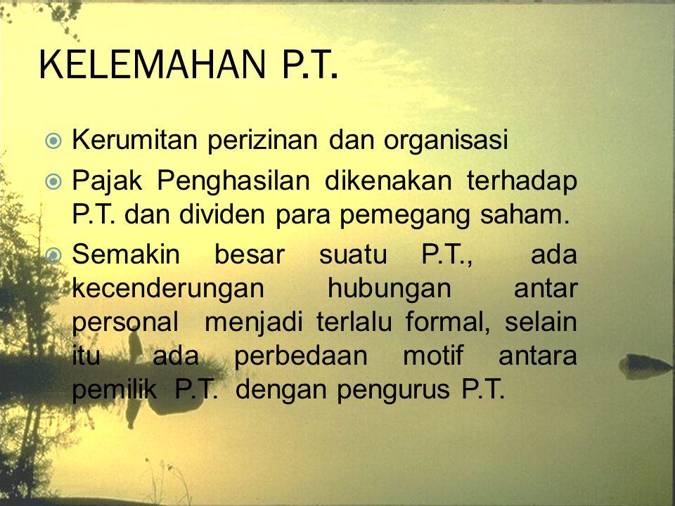 KELEMAHAN P.T. Kerumitan perizinan dan organisasi