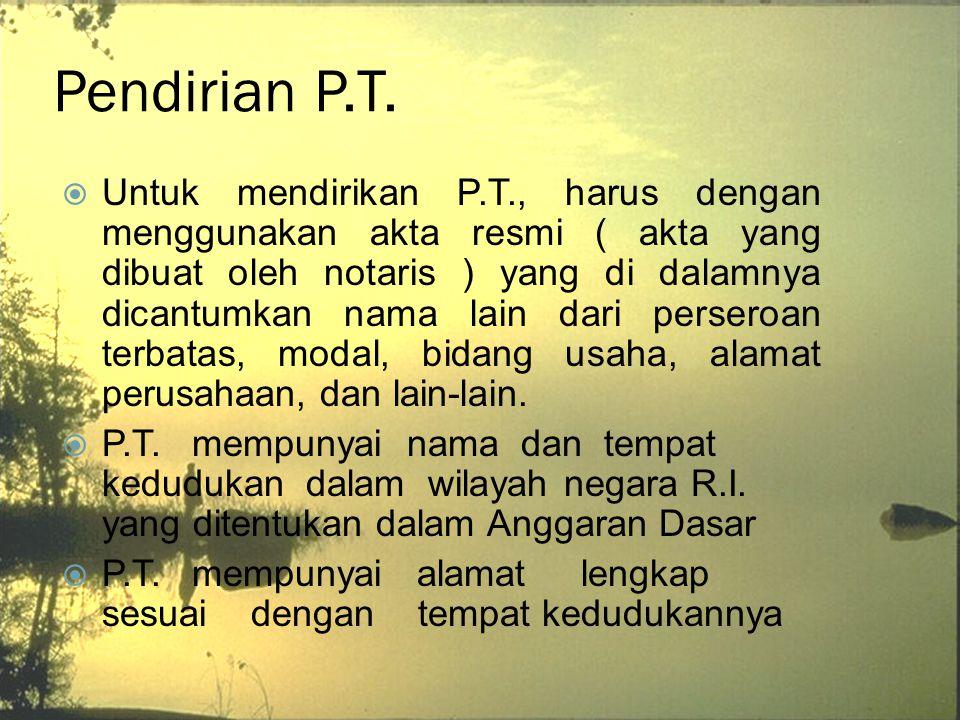 Pendirian P.T.