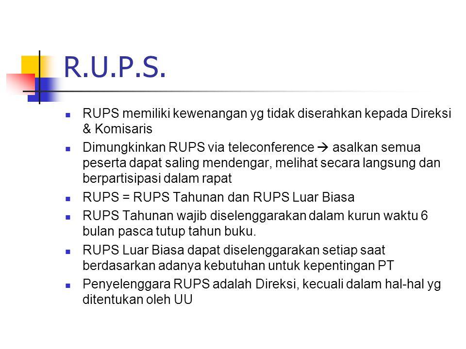 R.U.P.S. RUPS memiliki kewenangan yg tidak diserahkan kepada Direksi & Komisaris.