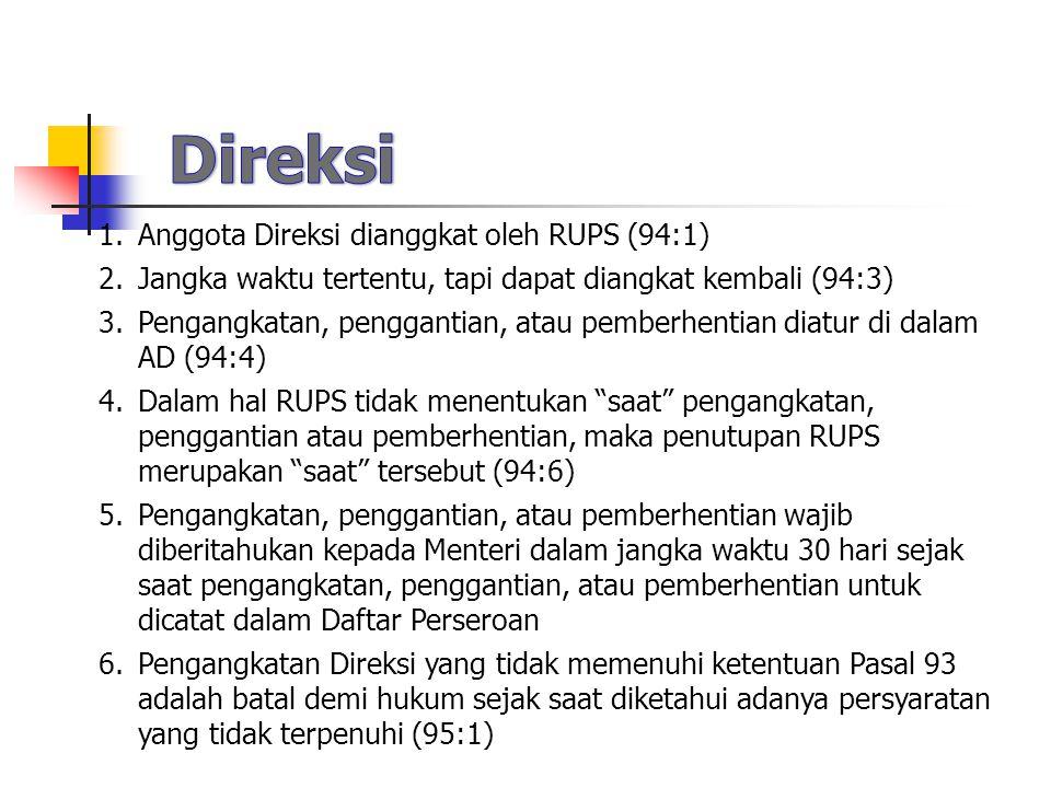 Direksi Anggota Direksi dianggkat oleh RUPS (94:1)
