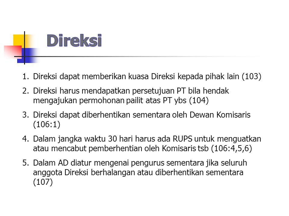 Direksi Direksi dapat memberikan kuasa Direksi kepada pihak lain (103)