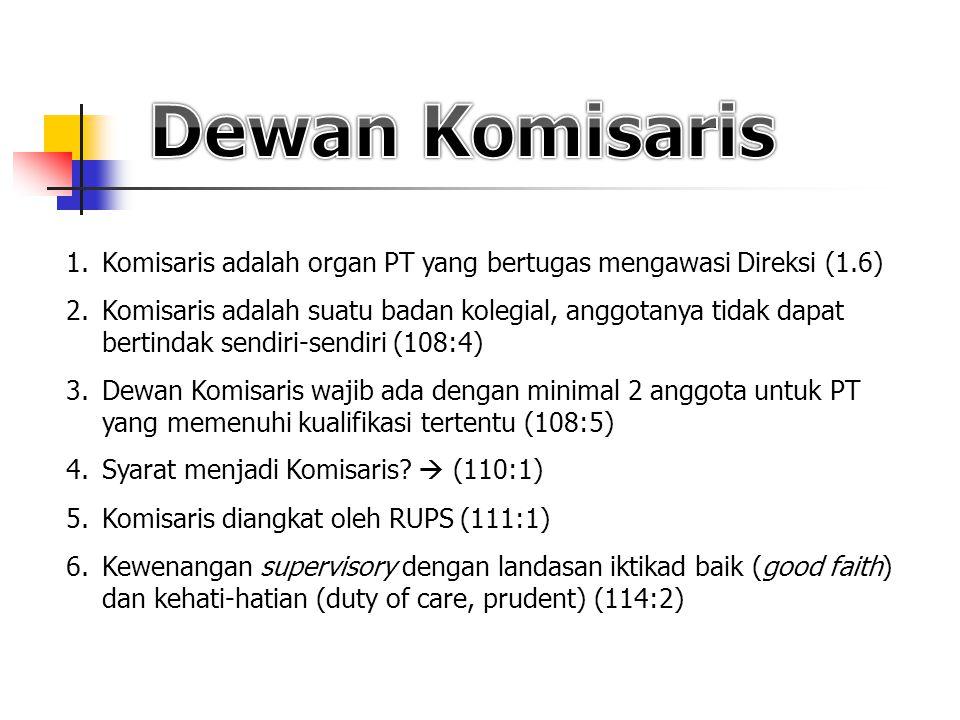 Dewan Komisaris Komisaris adalah organ PT yang bertugas mengawasi Direksi (1.6)