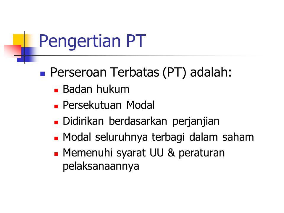 Pengertian PT Perseroan Terbatas (PT) adalah: Badan hukum