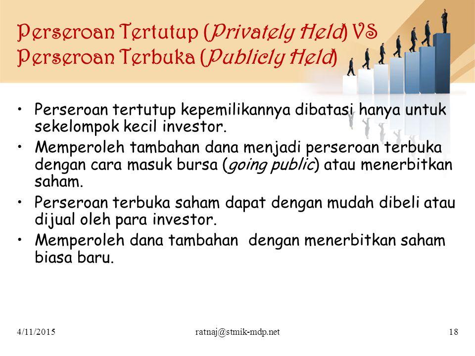 Perseroan Tertutup (Privately Held) VS Perseroan Terbuka (Publicly Held)