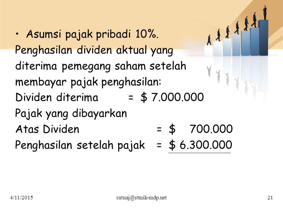 Penghasilan dividen aktual yang diterima pemegang saham setelah
