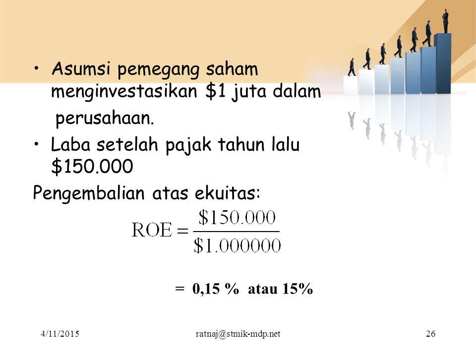 Asumsi pemegang saham menginvestasikan $1 juta dalam perusahaan.