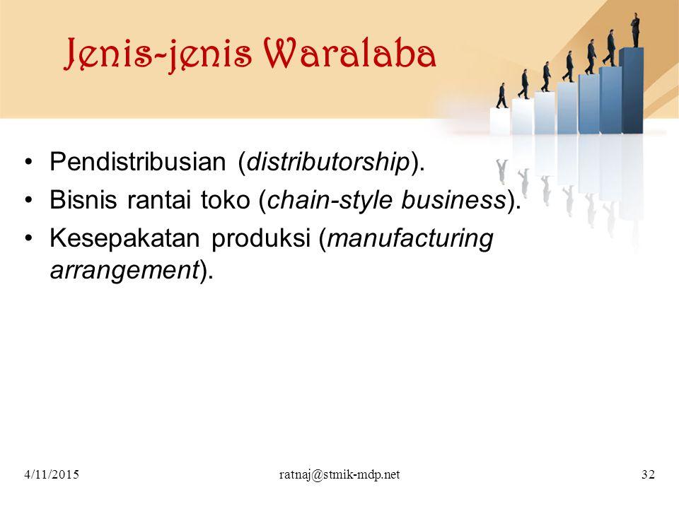 Jenis-jenis Waralaba Pendistribusian (distributorship).