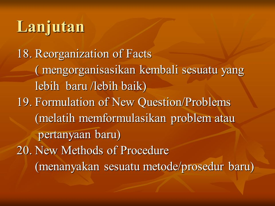 Lanjutan 18. Reorganization of Facts
