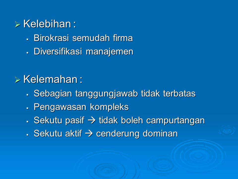 Kelebihan : Kelemahan : Birokrasi semudah firma