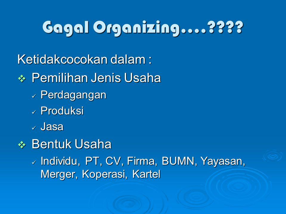 Gagal Organizing…. Ketidakcocokan dalam : Pemilihan Jenis Usaha