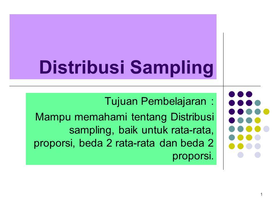 Distribusi Sampling Tujuan Pembelajaran :