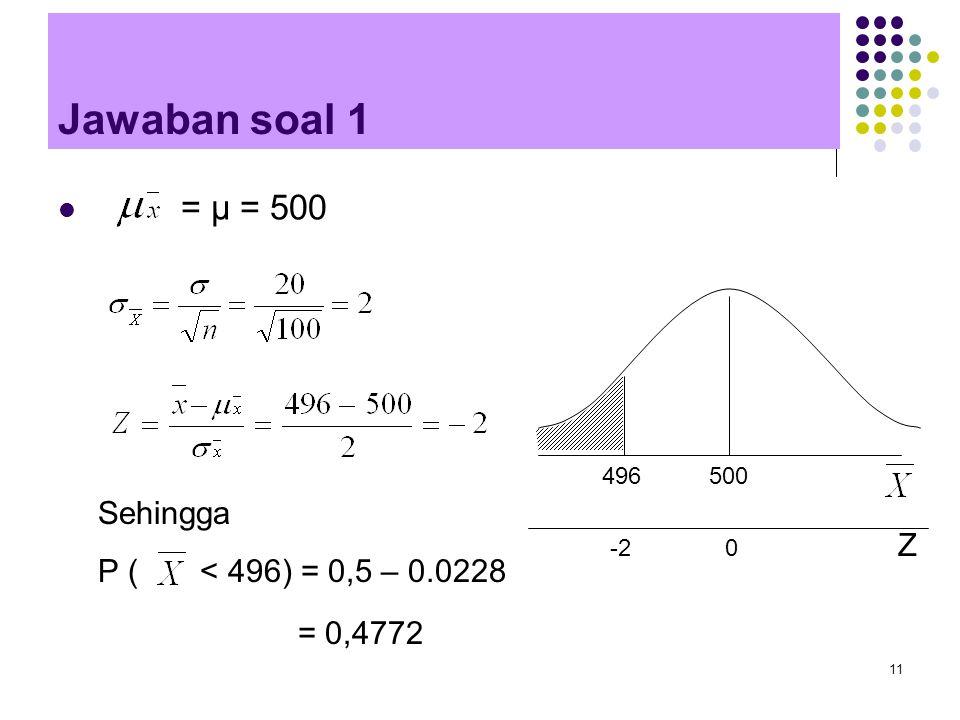 Jawaban soal 1 = μ = 500 Sehingga P ( < 496) = 0,5 – 0.0228 Z