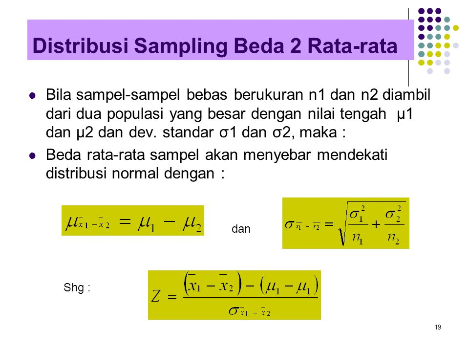 Distribusi Sampling Beda 2 Rata-rata
