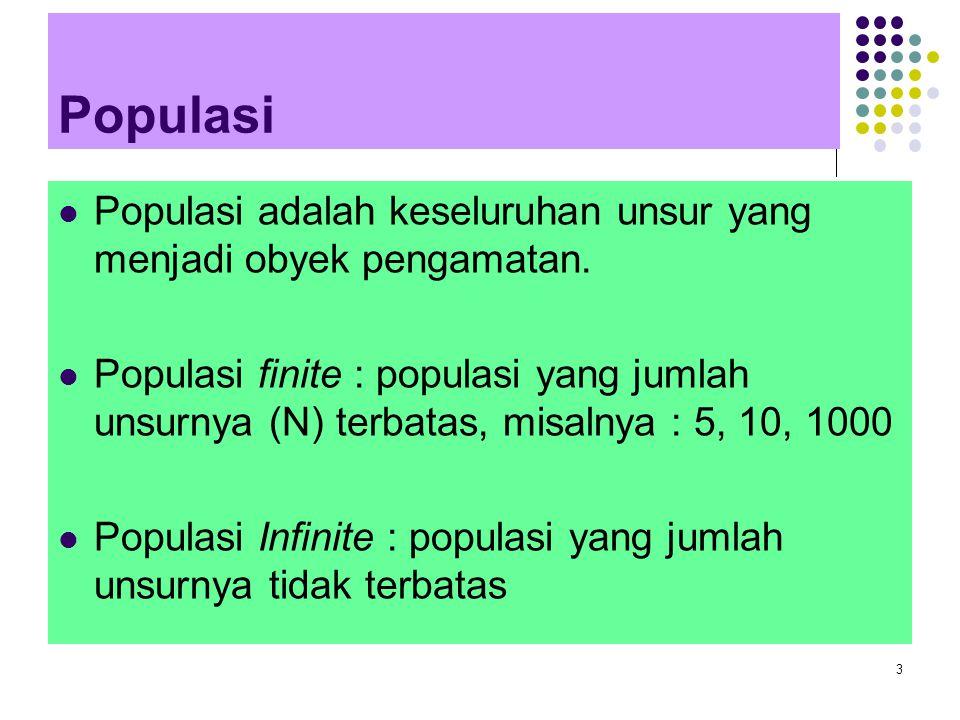 Populasi Populasi adalah keseluruhan unsur yang menjadi obyek pengamatan.