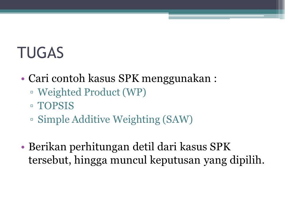 TUGAS Cari contoh kasus SPK menggunakan :