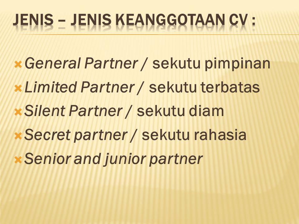 Jenis – jenis keanggotaan CV :