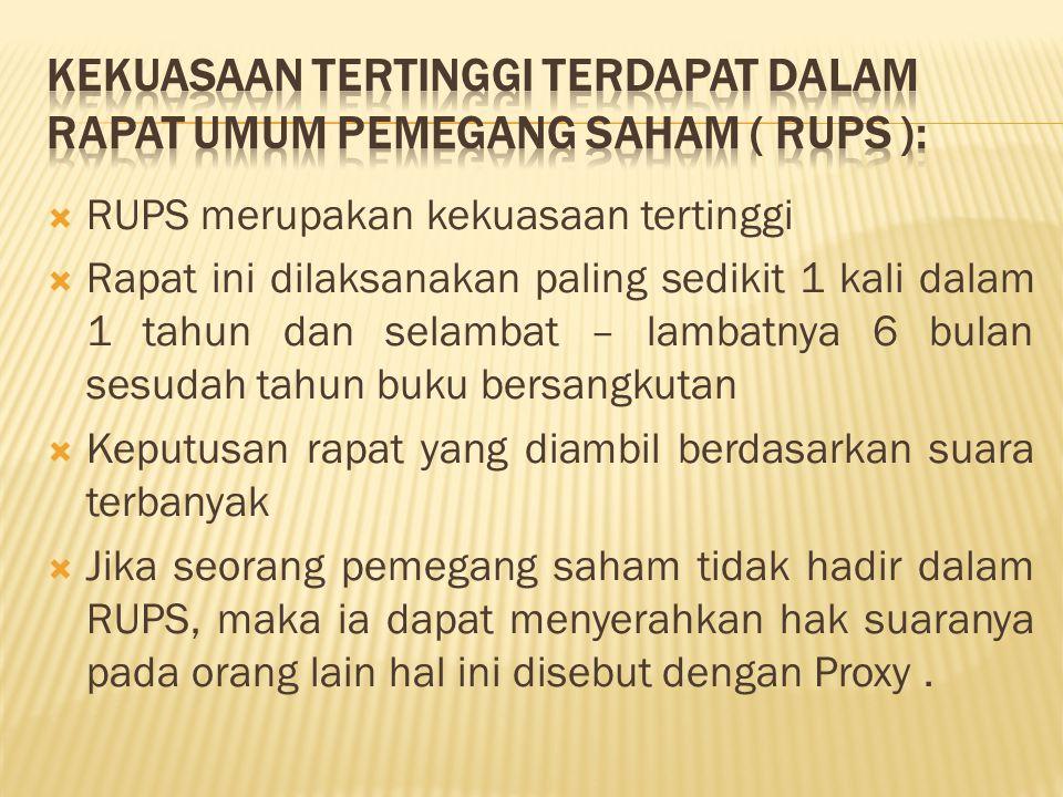 Kekuasaan tertinggi terdapat dalam Rapat Umum Pemegang Saham ( RUPS ):