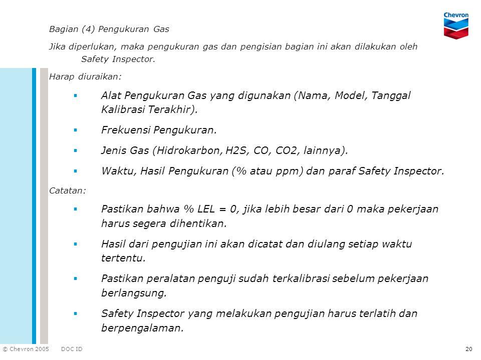 Jenis Gas (Hidrokarbon, H2S, CO, CO2, lainnya).