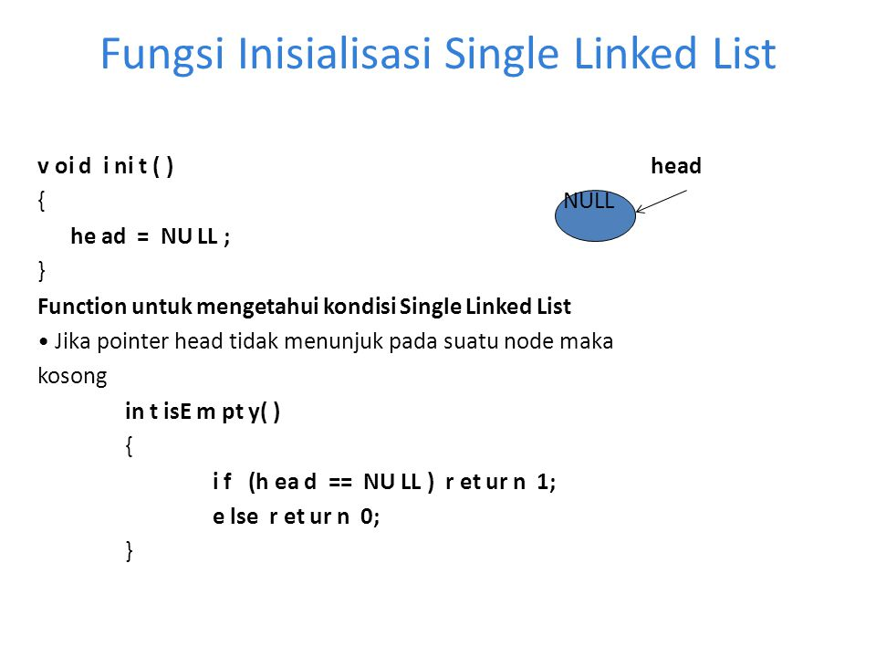 Fungsi Inisialisasi Single Linked List