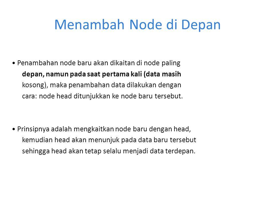 Menambah Node di Depan • Penambahan node baru akan dikaitan di node paling. depan, namun pada saat pertama kali (data masih.
