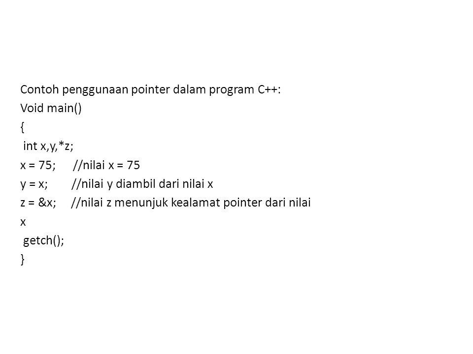 Contoh penggunaan pointer dalam program C++:
