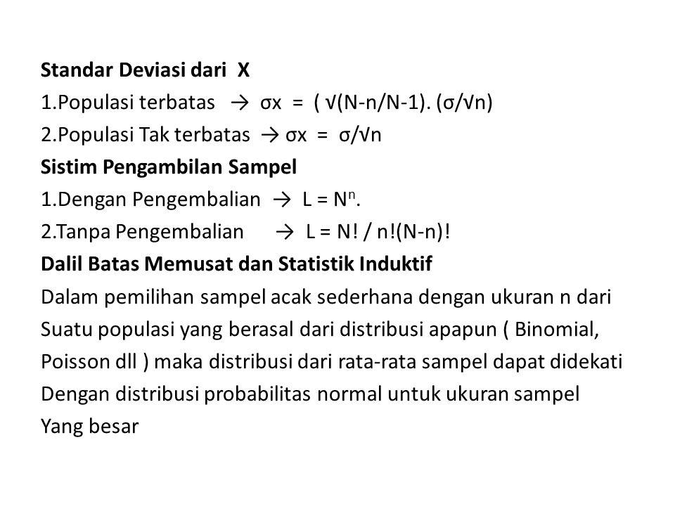 Standar Deviasi dari X 1. Populasi terbatas → σx = ( √(N-n/N-1)