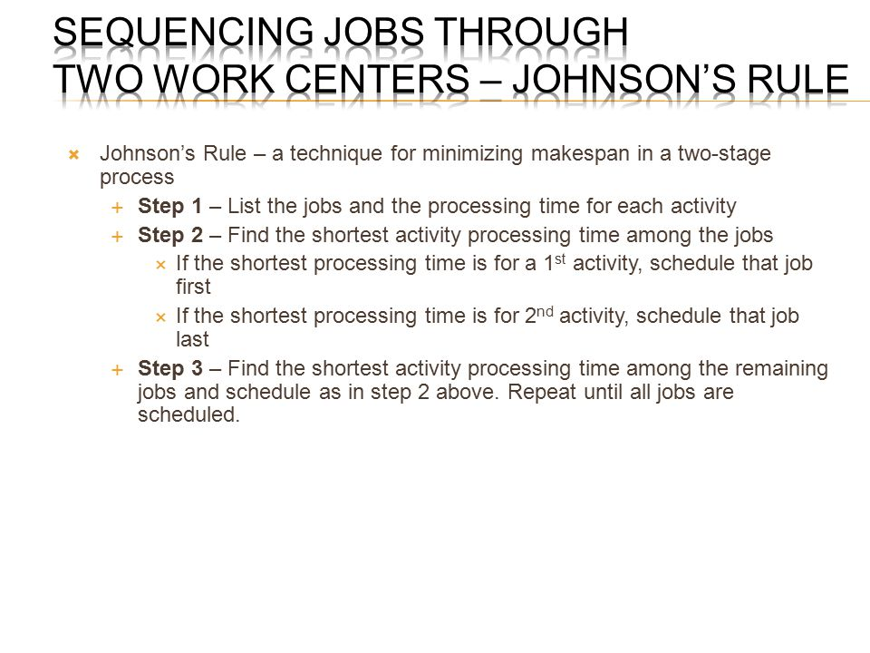 Sequencing Jobs through Two Work Centers – Johnson's Rule