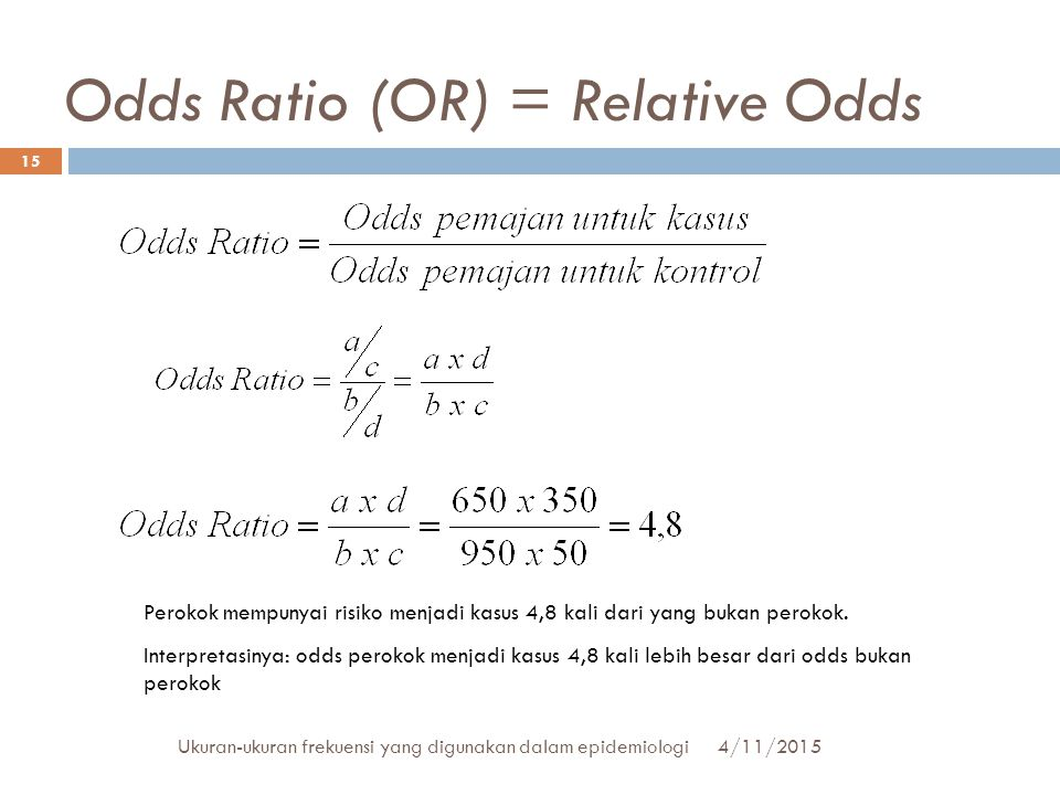 Odds Ratio (OR) = Relative Odds