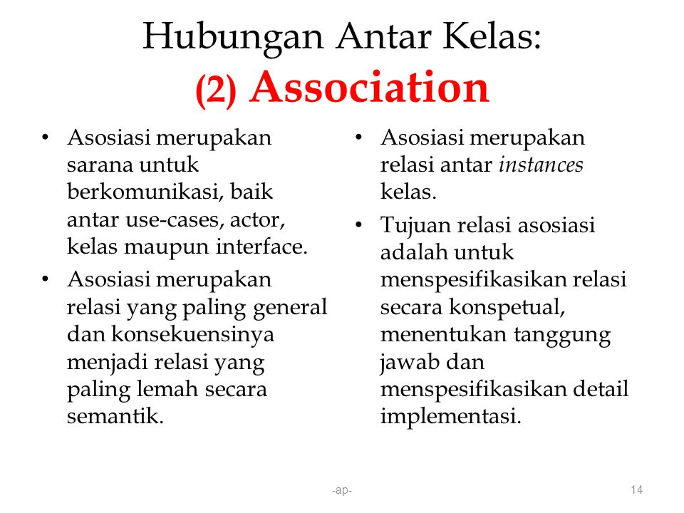 Hubungan Antar Kelas: (2) Association