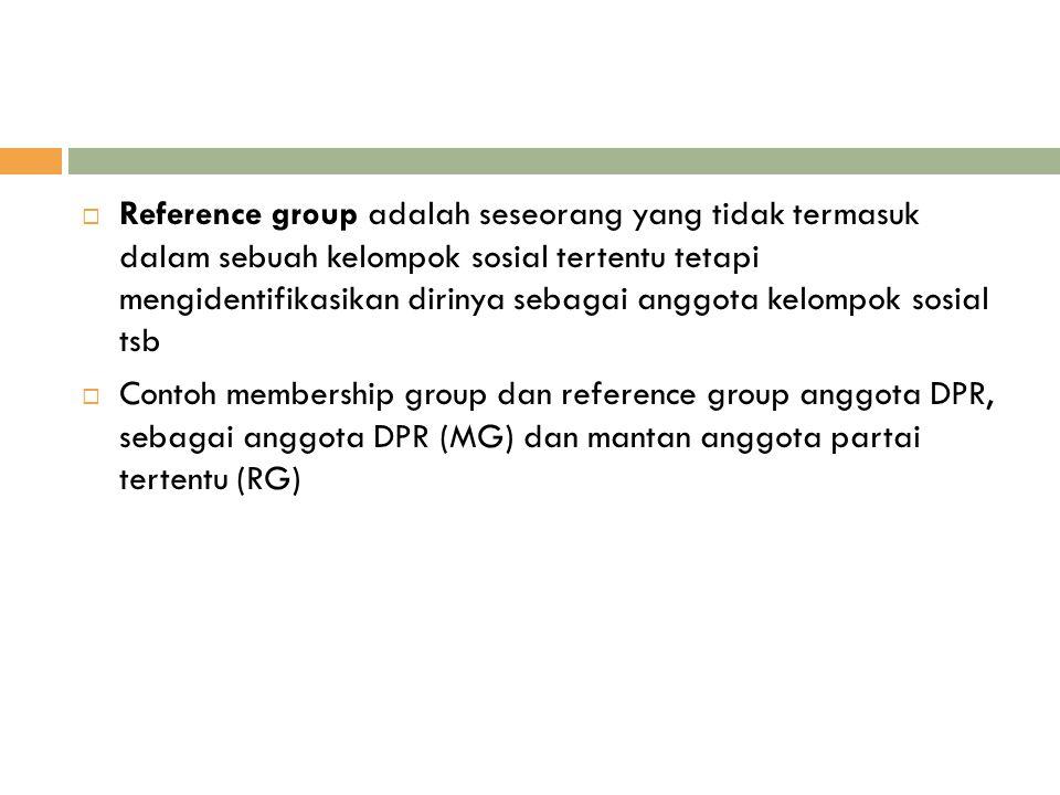 Reference group adalah seseorang yang tidak termasuk dalam sebuah kelompok sosial tertentu tetapi mengidentifikasikan dirinya sebagai anggota kelompok sosial tsb