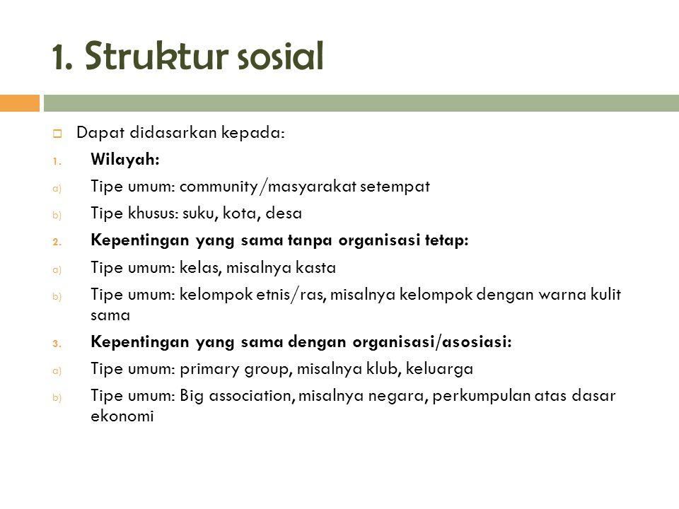1. Struktur sosial Dapat didasarkan kepada: Wilayah: