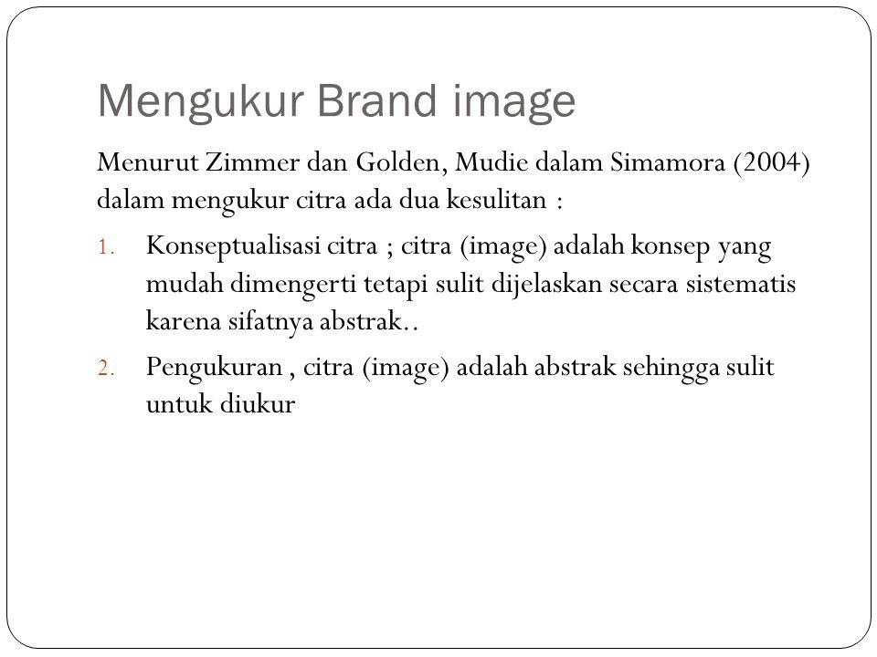 Mengukur Brand image Menurut Zimmer dan Golden, Mudie dalam Simamora (2004) dalam mengukur citra ada dua kesulitan :