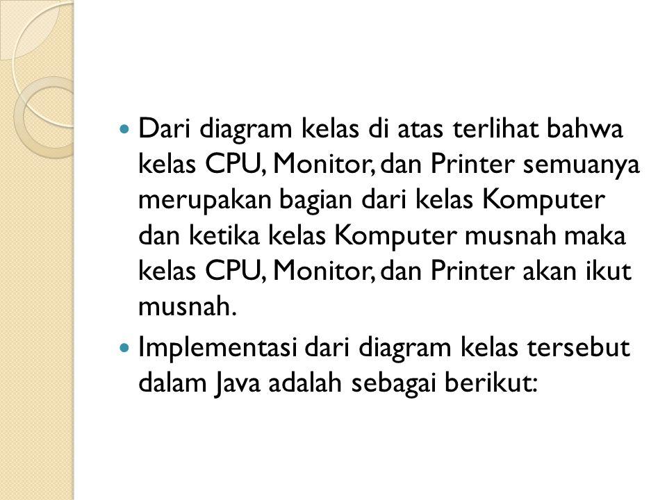 Dari diagram kelas di atas terlihat bahwa kelas CPU, Monitor, dan Printer semuanya merupakan bagian dari kelas Komputer dan ketika kelas Komputer musnah maka kelas CPU, Monitor, dan Printer akan ikut musnah.