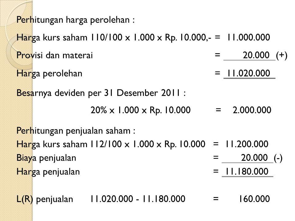 Perhitungan harga perolehan :