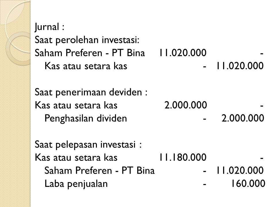 Jurnal : Saat perolehan investasi: Saham Preferen - PT Bina. 11.020.000. - Kas atau setara kas.