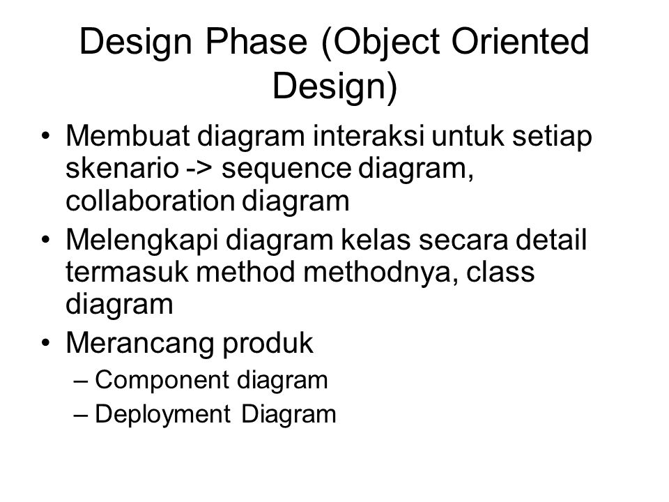 Design Phase (Object Oriented Design)