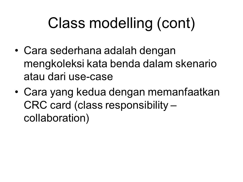 Class modelling (cont)