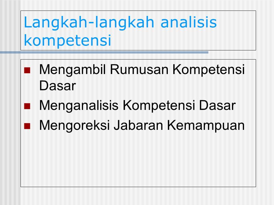 Langkah-langkah analisis kompetensi