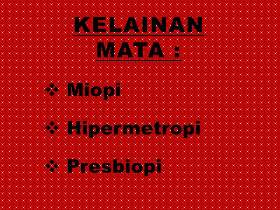 Kelainan mata : Miopi Hipermetropi Presbiopi