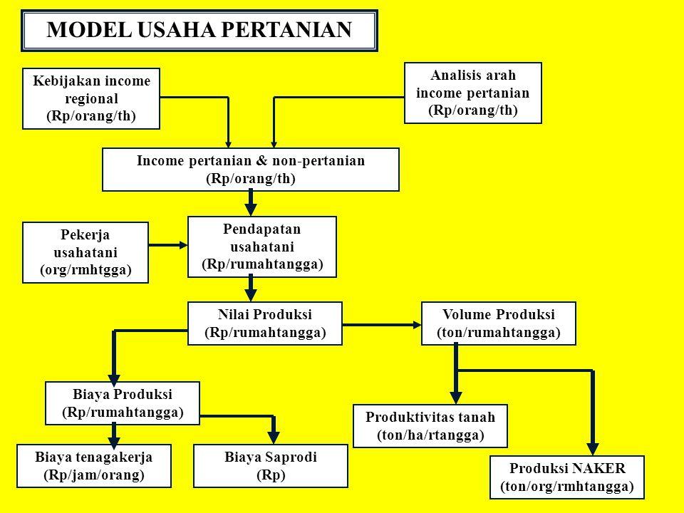 MODEL USAHA PERTANIAN Analisis arah income pertanian (Rp/orang/th)