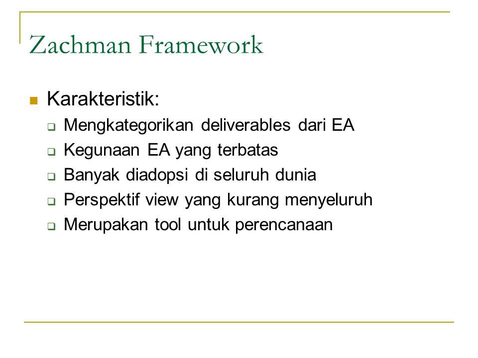 Zachman Framework Karakteristik: Mengkategorikan deliverables dari EA