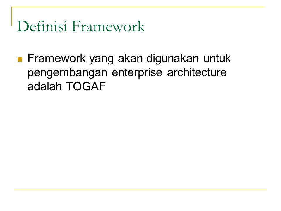 Definisi Framework Framework yang akan digunakan untuk pengembangan enterprise architecture adalah TOGAF.