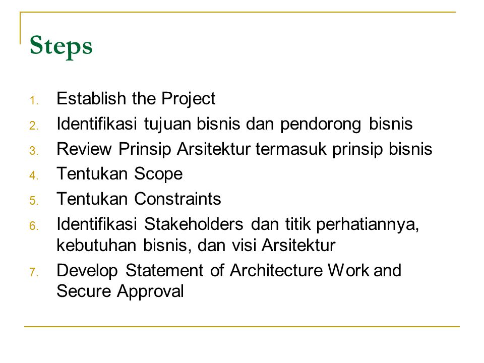 Steps Establish the Project