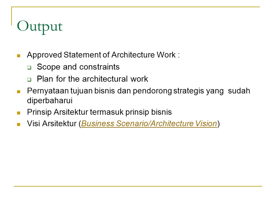 Output Scope and constraints Plan for the architectural work