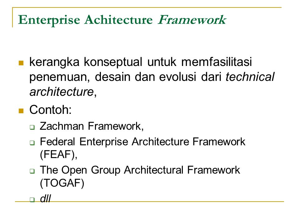 Enterprise Achitecture Framework