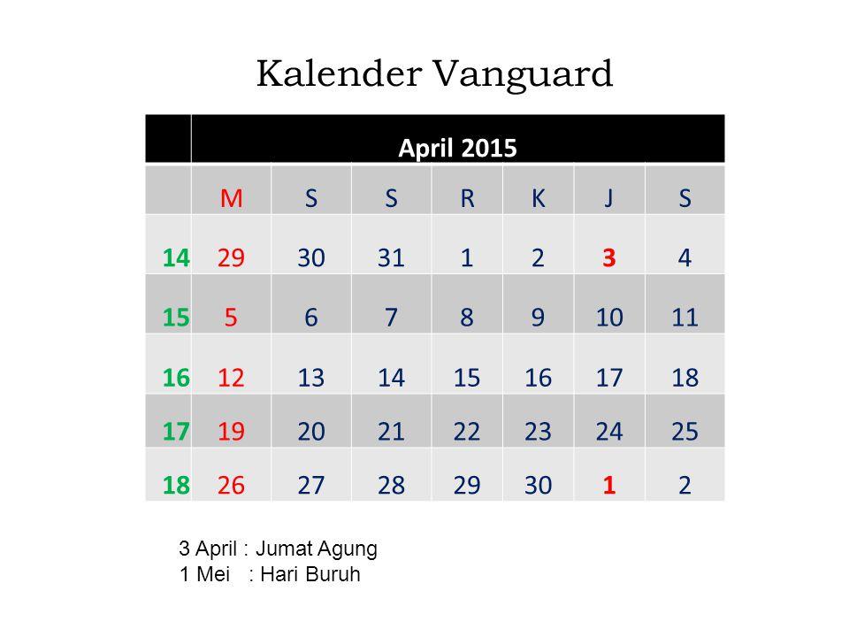 Kalender Vanguard April 2015 M S R K J 14 29 30 31 1 2 3 4 15 5 6 7 8