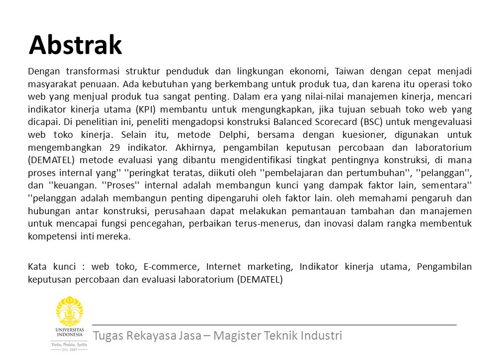 Abstrak Tugas Rekayasa Jasa – Magister Teknik Industri