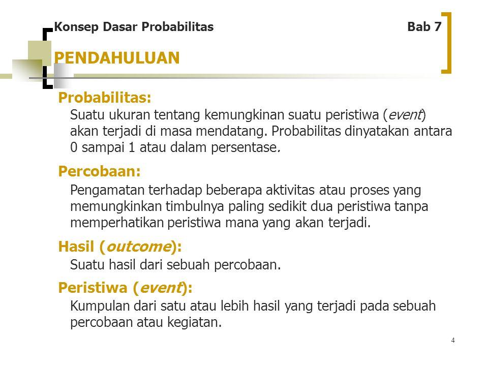 PENDAHULUAN Probabilitas: Percobaan: